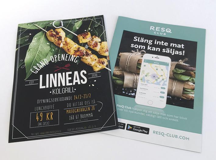 Flyer med reklam för restaurang, tryckt i Stockholm