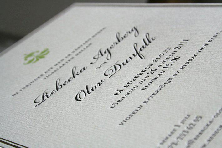Bröllopsinbjudan tryckt med Boktryck Letterpress